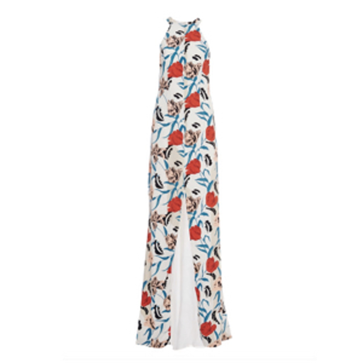 Floral-Print Crepe Gown