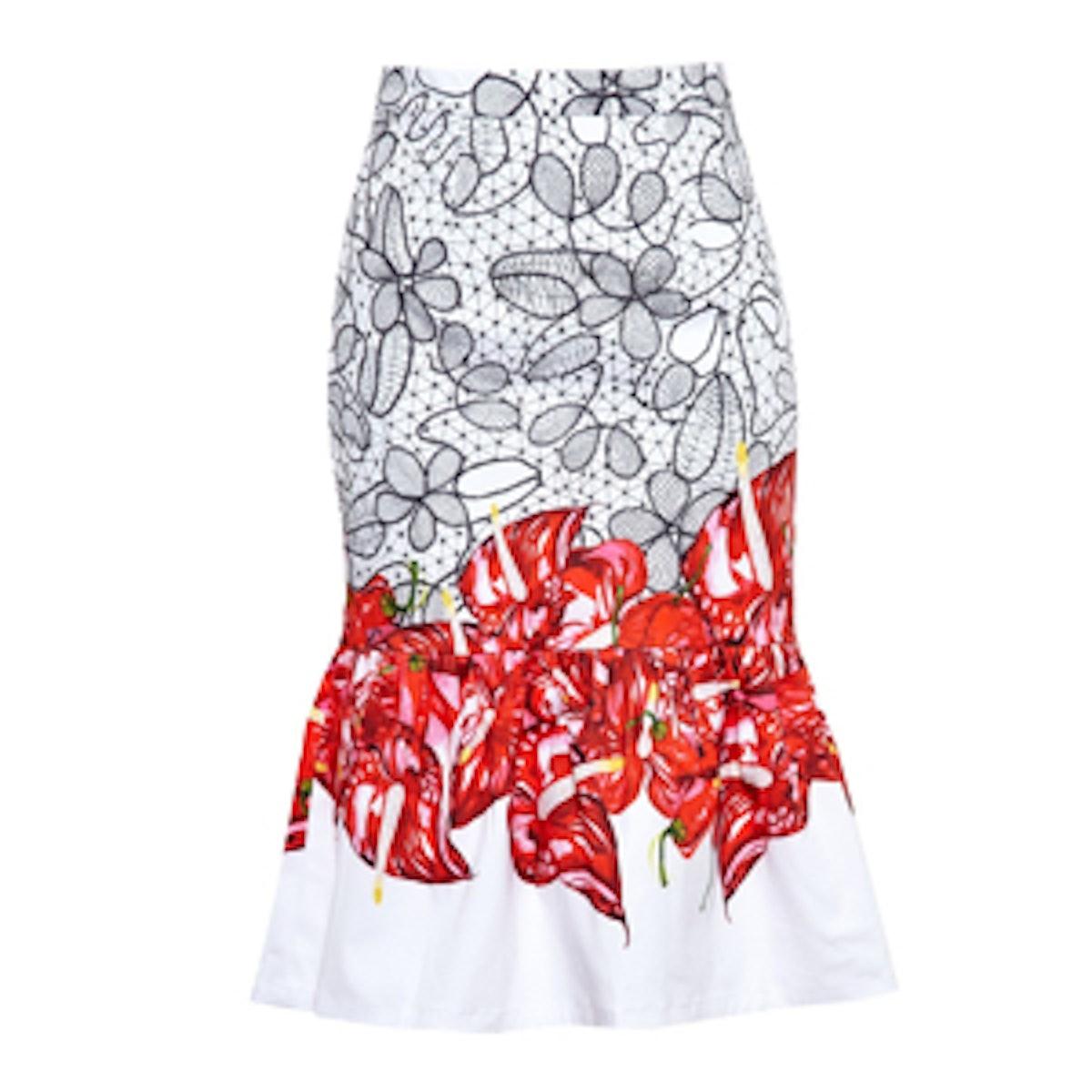 Frilled Floral Midi Skirt