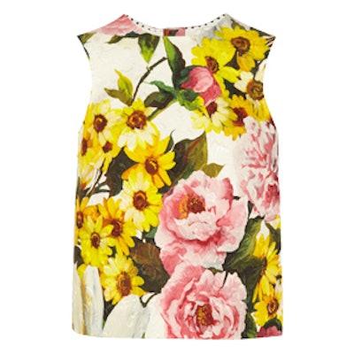 Floral-Jacquard Print Top