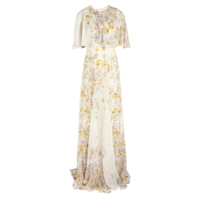 Silk Chiffon Floral Print Gown
