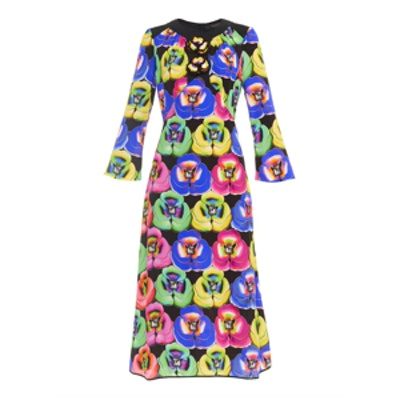 Pansy-Print and Embellished Dress