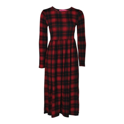 Tartan Long-Sleeve Midi Dress
