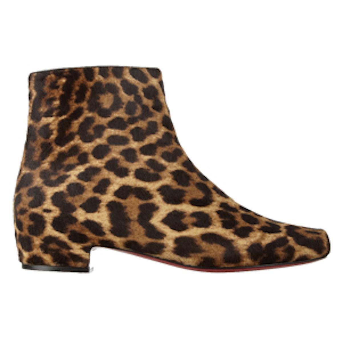 Tounoir Leopard-Print Calf Hair Ankle Boots