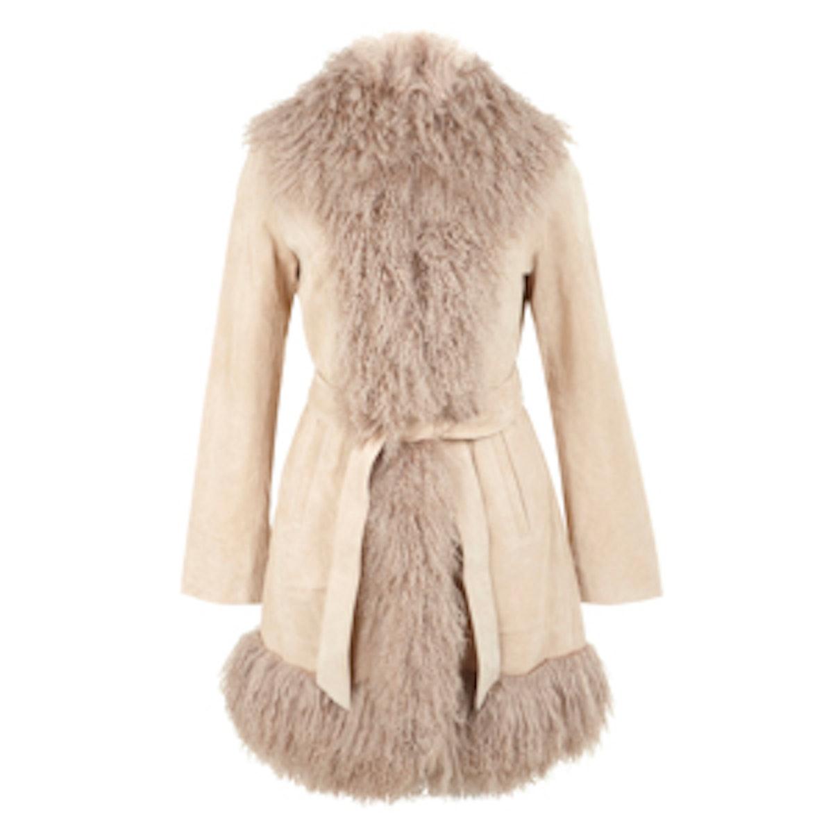 Suede Mongolian Fur Coat