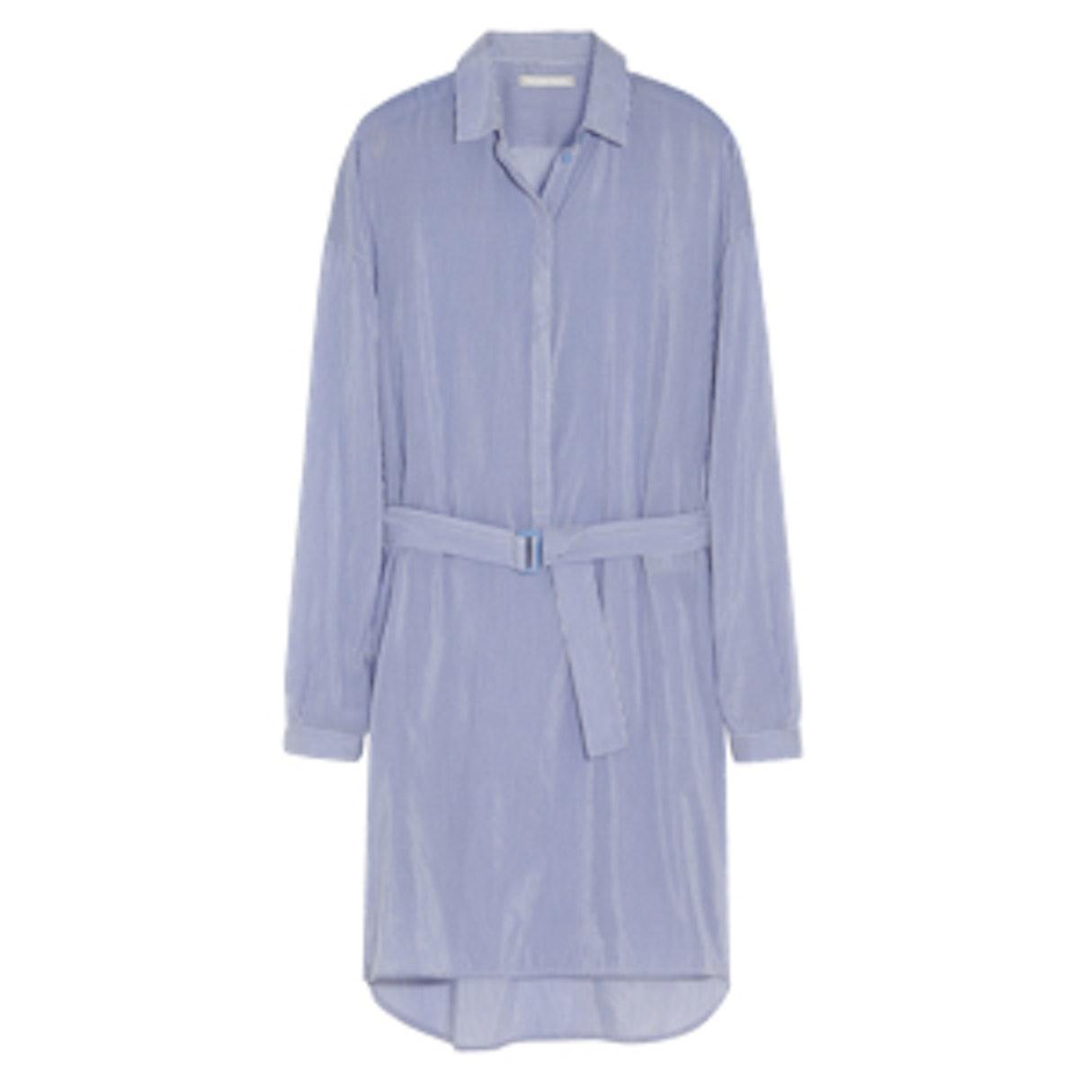Striped Cotton and Silk Blend Shirt Dress