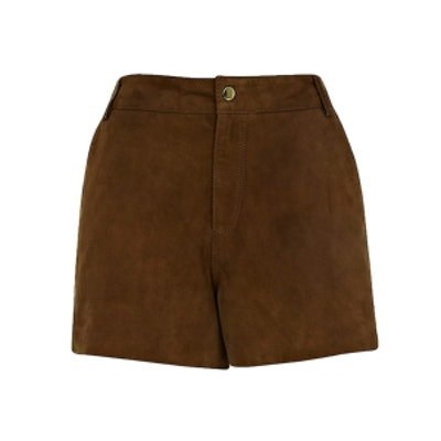 Brown Suede City Shorts