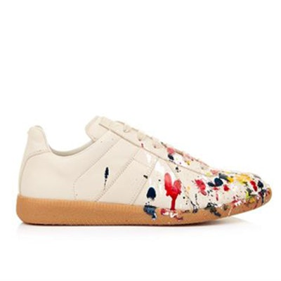 Paint-Splatter Low-Top Trainers
