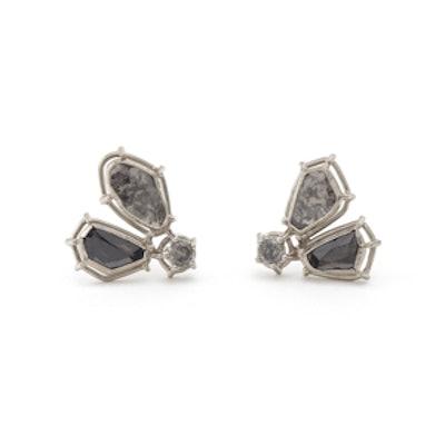 Salt and Pepper Diamond Triangle Earrings