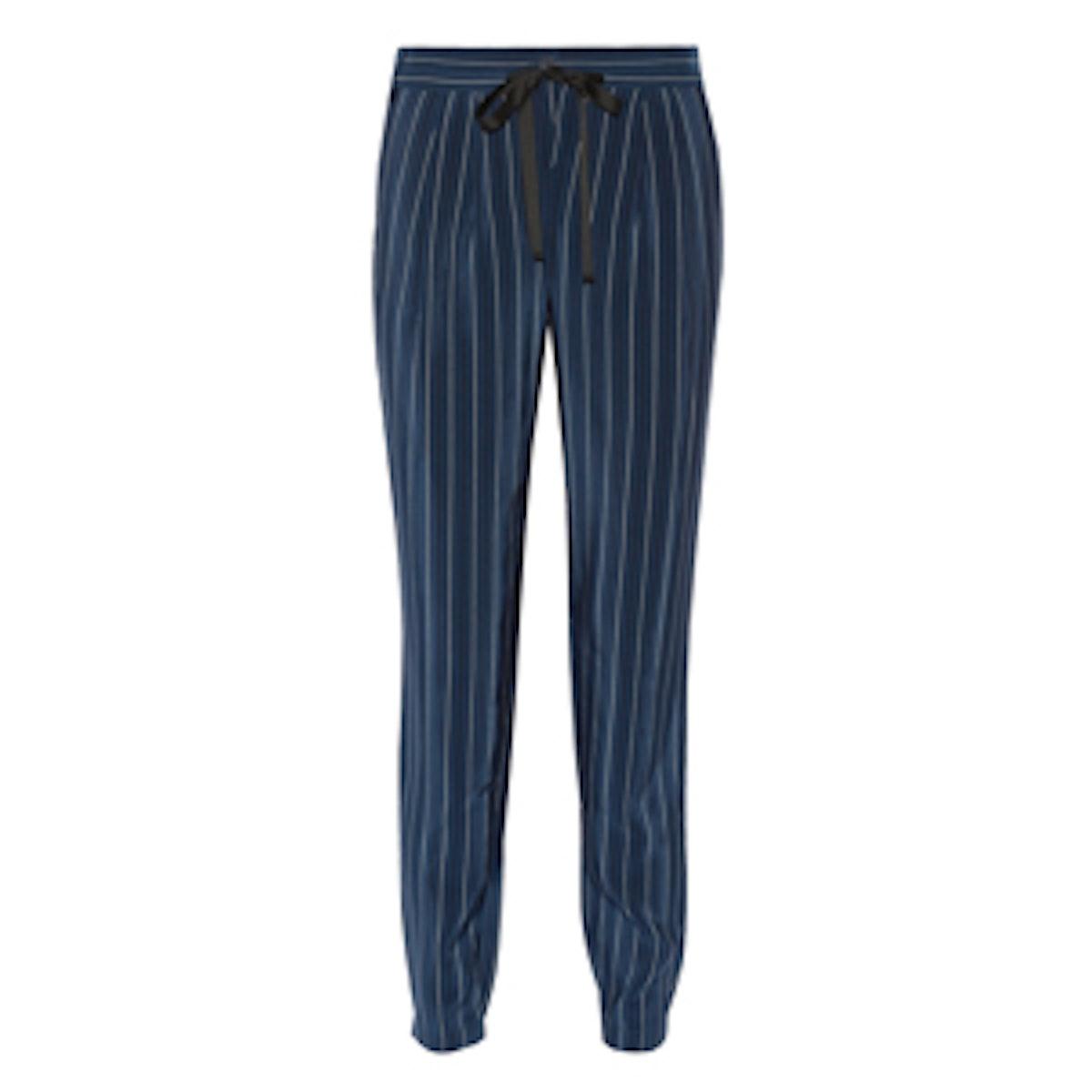 Pinstriped Silk Crepe Pants