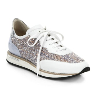 Nahla Leather and Tweed Sneakers