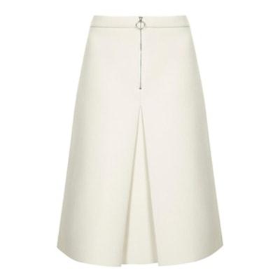 Inverted Pleat Midi Skirt