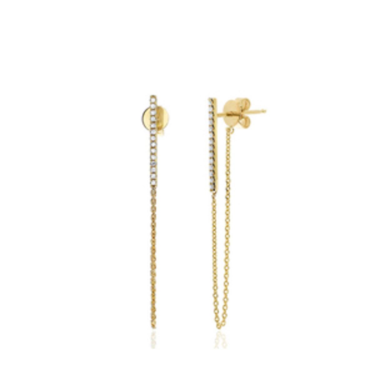 14K Gold Diamond Bar Chain Stud Earrings
