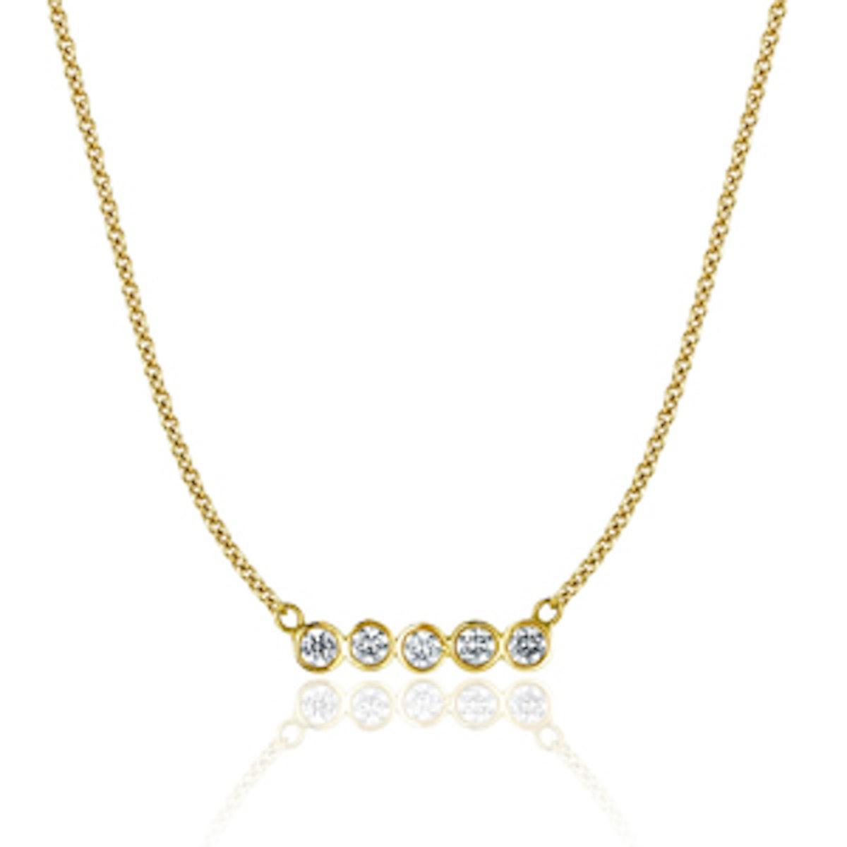 14K Gold Five Diamond Star Line Necklace