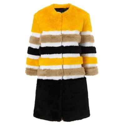 Multi Stripe Faux Fur Coat