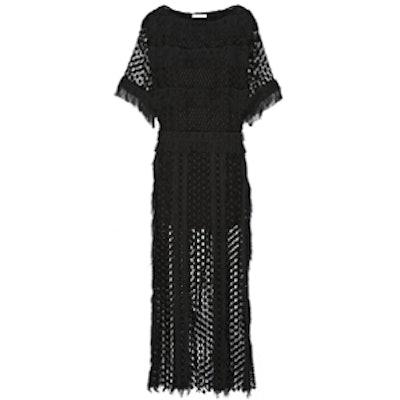 Fringed Lace Maxi Dress