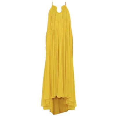 Pleated Silk Maxi Dress