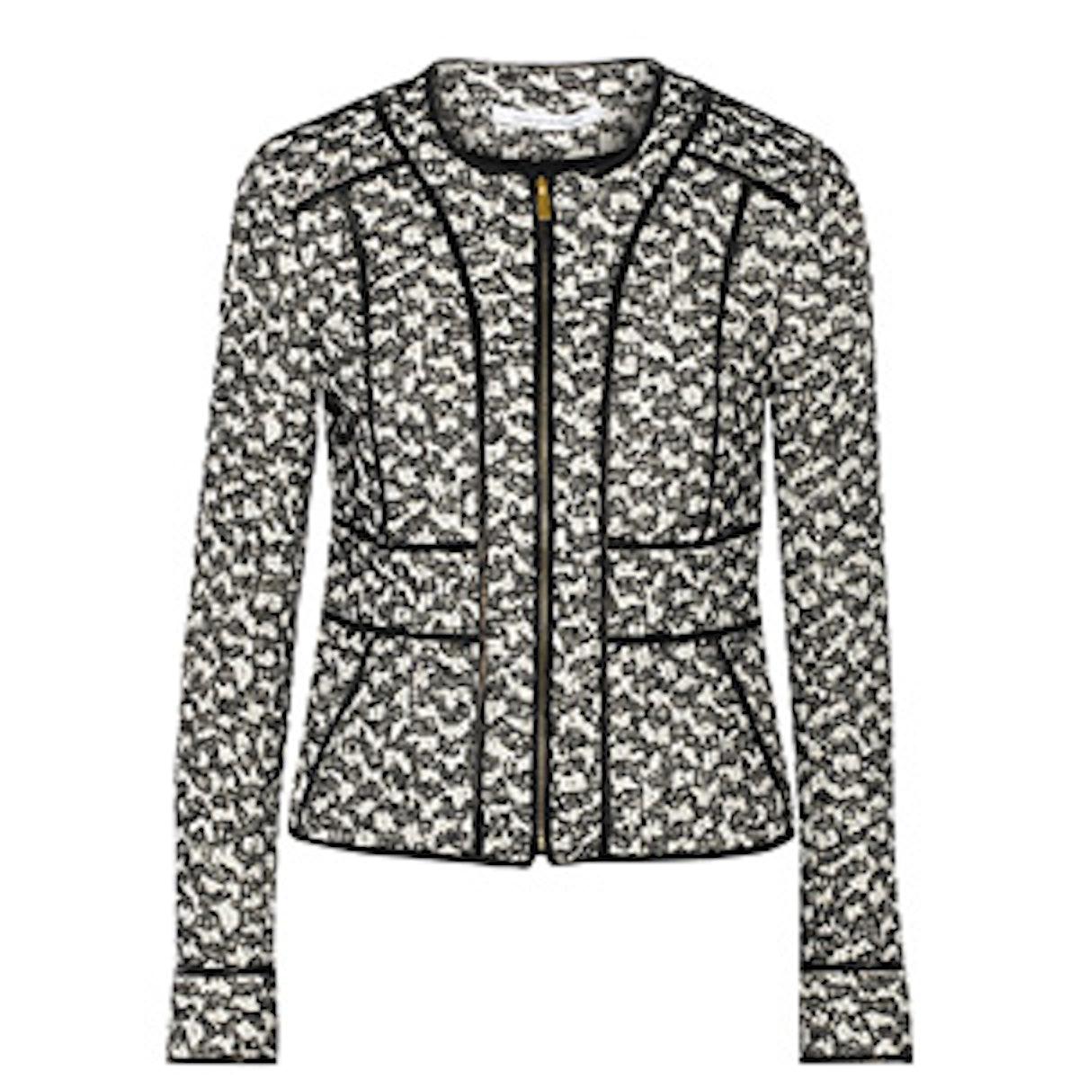 Metallic Tweed & Leather Trim Jacket