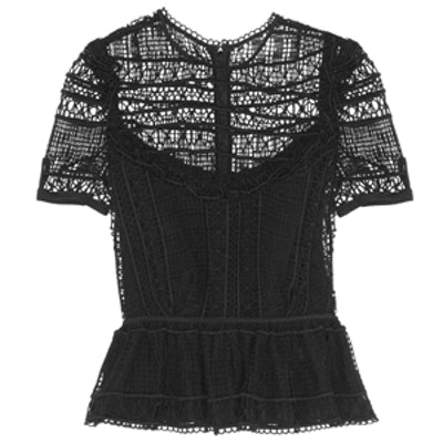 Alma Crocheted Peplum Top