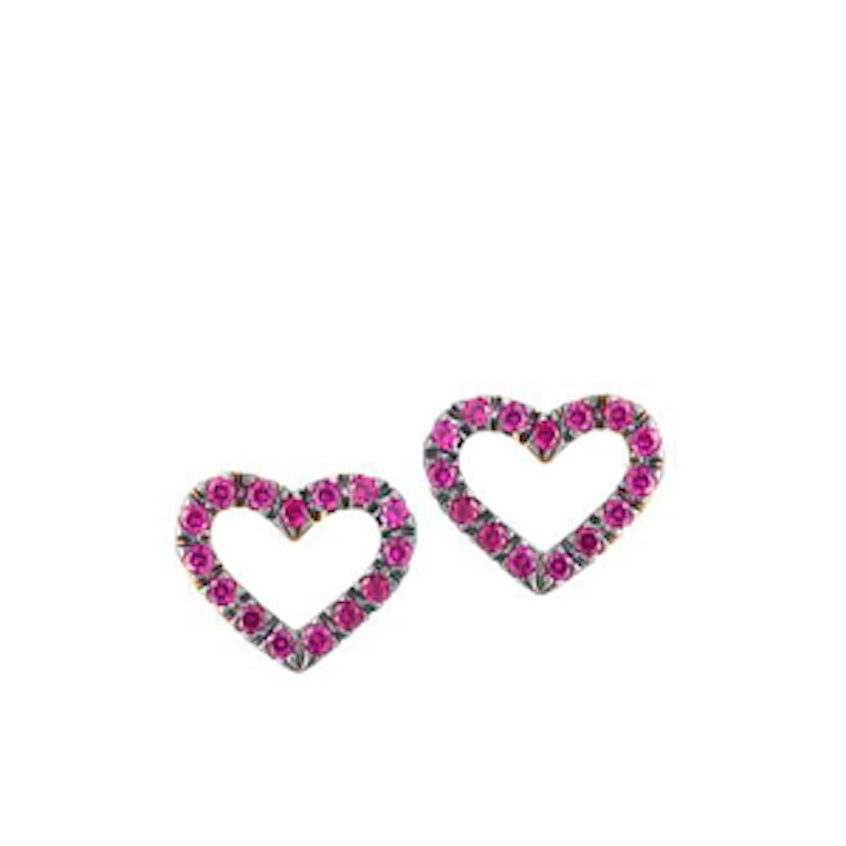 Open Ruby Heart Studs