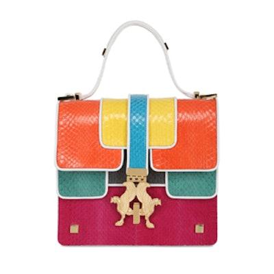 Color-Block Snakeskin Bag