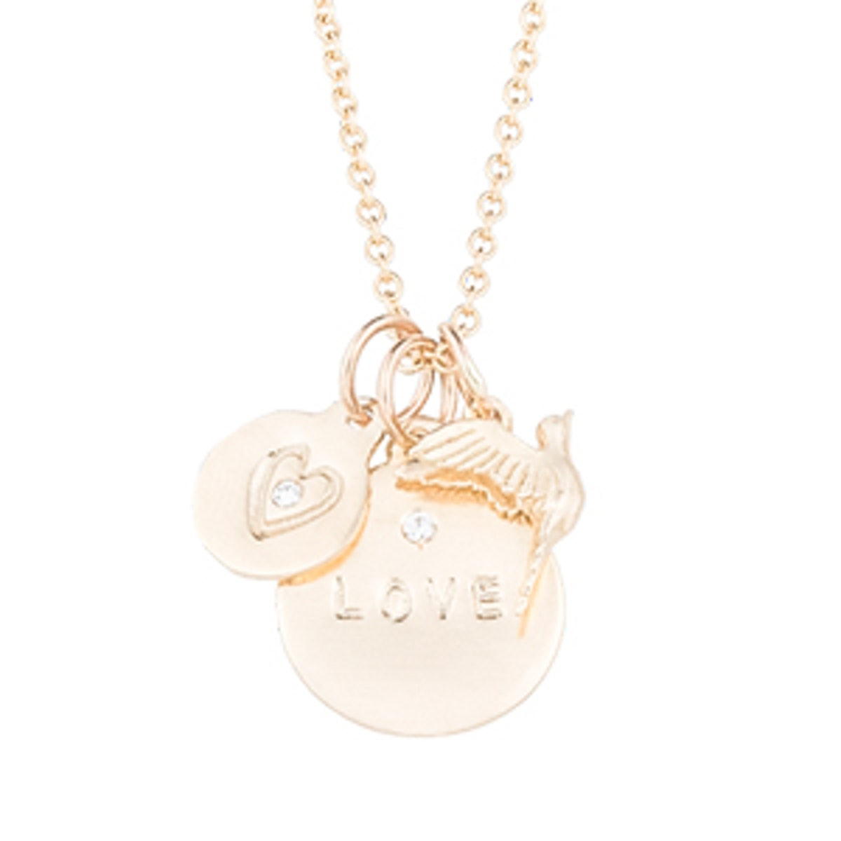 14K Yellow Gold Love Disk with Diamond Necklace