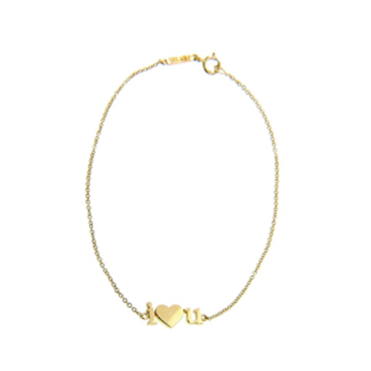 18K Yellow Gold I Heart You Bracelet