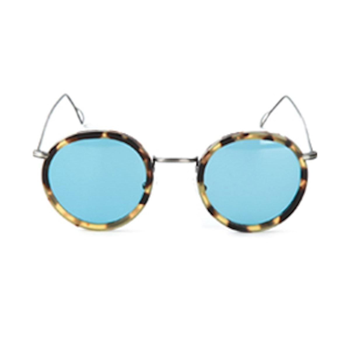 Blue Lense Round Sunglasses