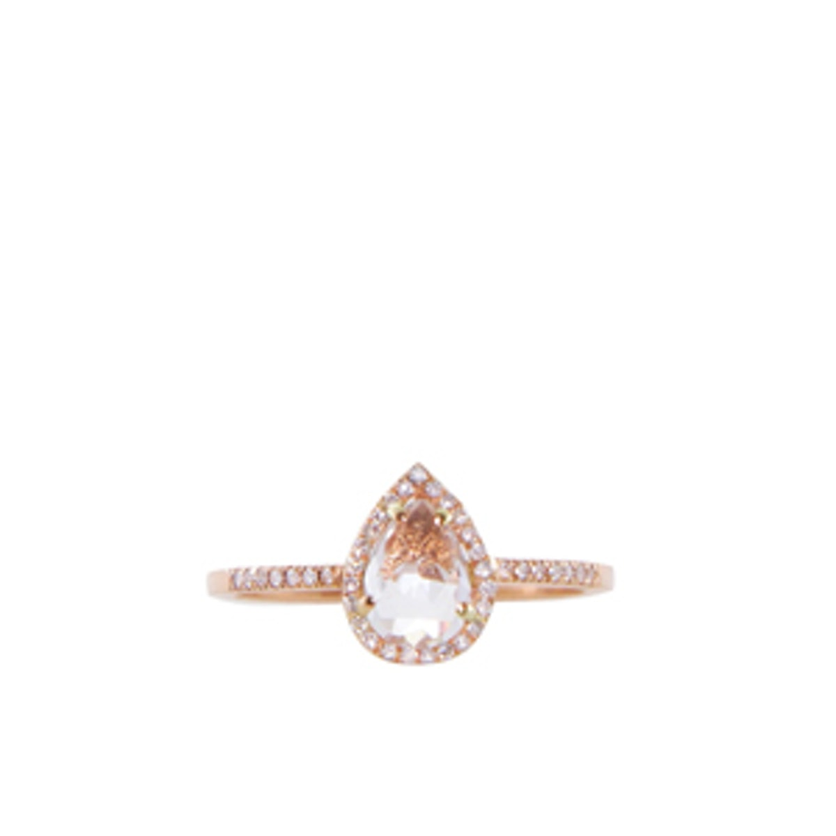 14K Rose Gold Topaz & Diamond Teardrop Ring