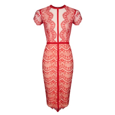 Satsuko Red Lace Panel Midi Dress