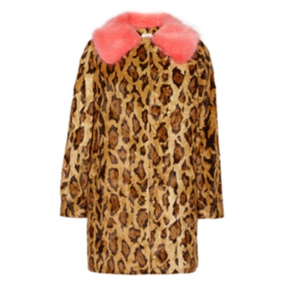 Papa Puss Printed Faux Fur Coat