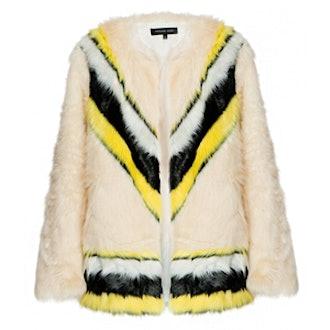 Chevron Stripe Faux Fur Coat