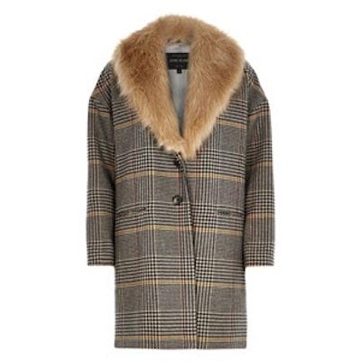 Brown Check Faux Fur Collar Coat