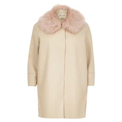 Cream Faux Fur Trim Coat