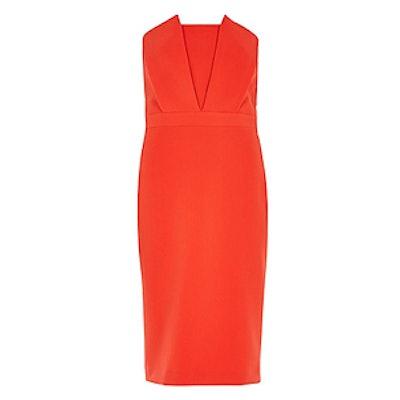 Red Bandeau Pleat Pencil Dress