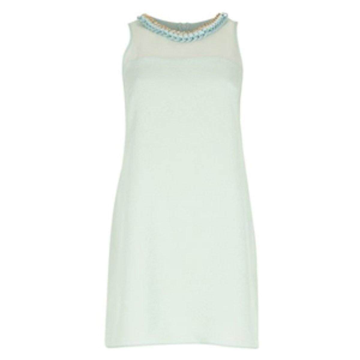 Green Sleeveless Embellished Shift Dress