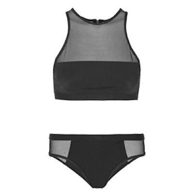 Mesh-Paneled Stretch Bikini