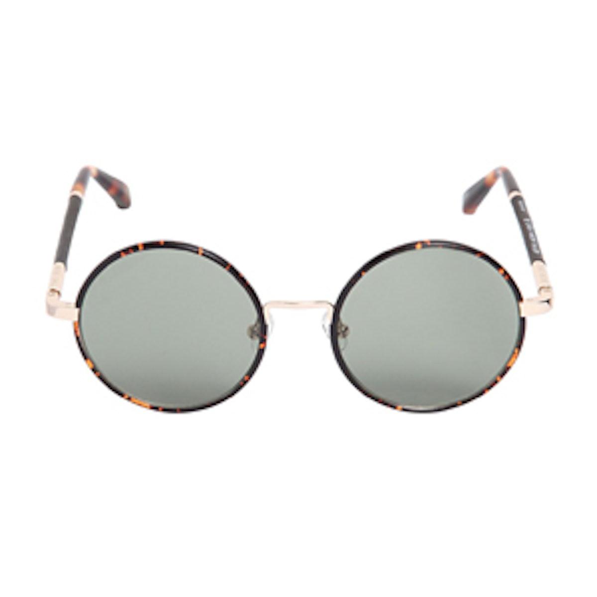 Leather & Acetate Round Sunglasses