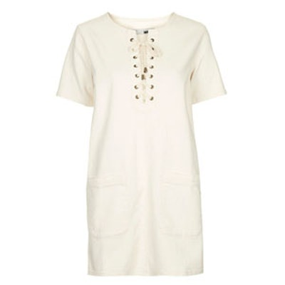 Moto Denim Lace-Up T-Shirt Dress