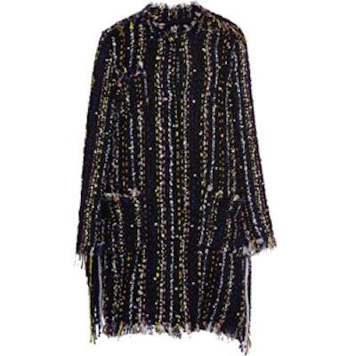 Embellished Tweed Fringe Coat