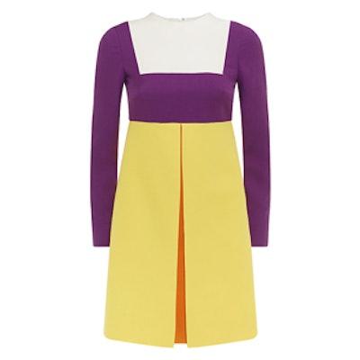 Crepe Colour Block Long Sleeve Dress