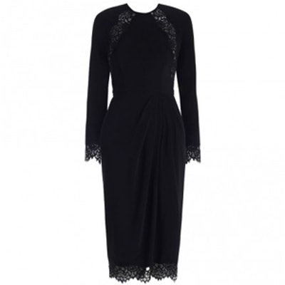 Crepe Lace Tuck Dress