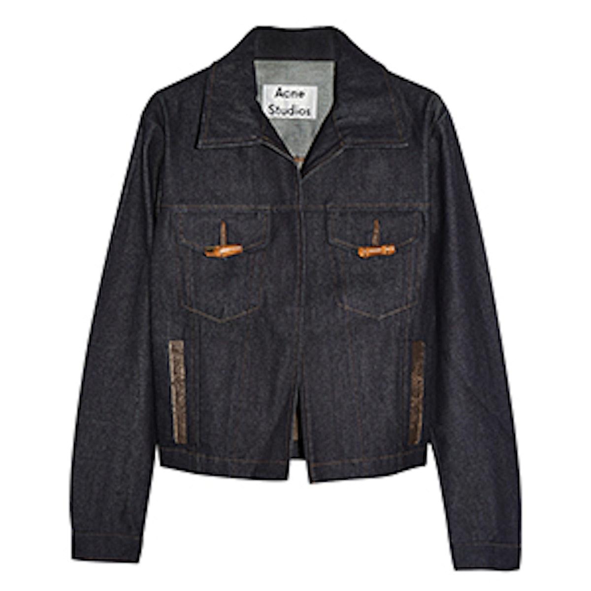 North Raw leather-trimmed denim jacket