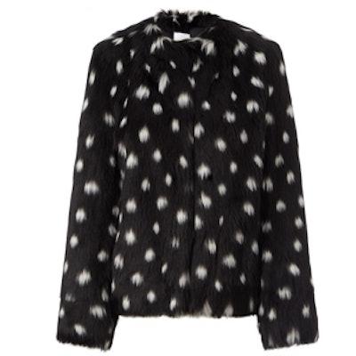 Black Spotted Faux Fur Jacket