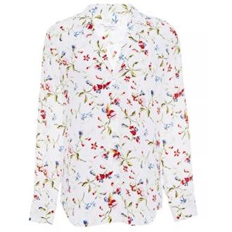 Keira Floral-Print Washed-Silk Shirt