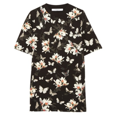 T-shirt in Moth-Print Cotton-Jersey