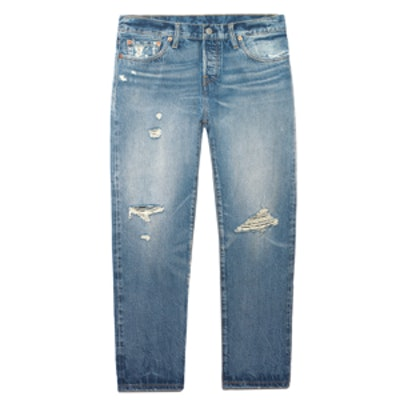 501 CT Distressed Mid-Rise Straight-Leg Jeans in Light Wash