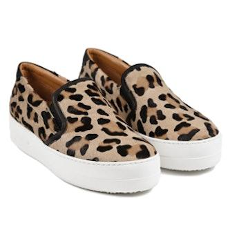 Et Cie Leopard Calf Hair Slip On Sneaker
