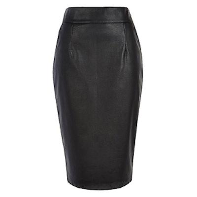 Black High Waisted Leather Skirt