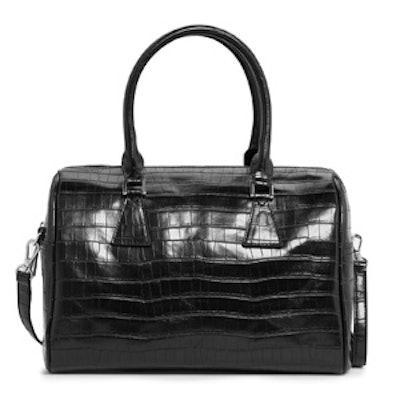 Croc Embossed Top Handle Bag