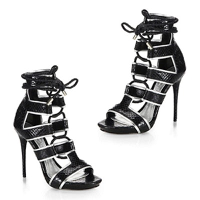 Ankle-Tie Snake-Embossed Leather Sandals